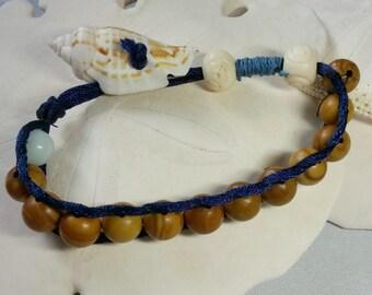 Beach Wrap Bracelet Silk Wood Jasper Amazonite Sea Shell