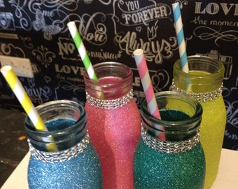 Summer glitter milk bottles