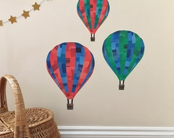 Hot Air Balloon Fabric Wall Stickers, hot air balloon decals, hot air balloons, boys room decor, hot air balloon nursery, baby boy's room
