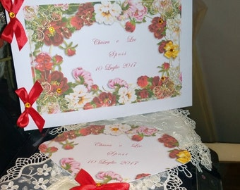 Personalized wedding Guest Book with ribbons