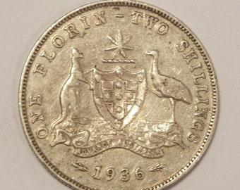 1936 Australia Florin Silver Coin
