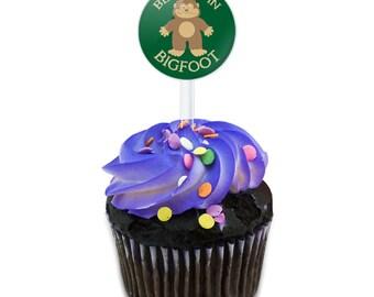 Believe In Bigfoot Sasquatch Cake Cupcake Toppers Picks Set