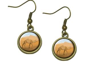 Camel Walking Through Desert Dangle Dangling Drop Earrings