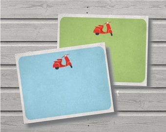 Vespa Notecard // Lovely Notecards // Vintage // Motocycle // Stationery // Notecards //Thank You // 2 Different Designs // Instant Download