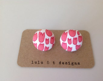 tulip fabric covered button earrings pair, flower fabric stud earrings