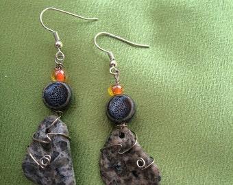Stone and bead earings
