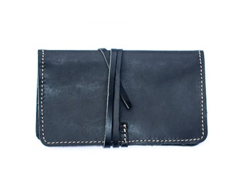 Hand Made Black Leather Tobacco Pouch | Tobacco Wallet (Leather String Closure)