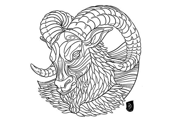 Adult Coloring Page Zodiac Sign Set ARIES Instant
