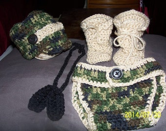 Military / Army Crocheted Set