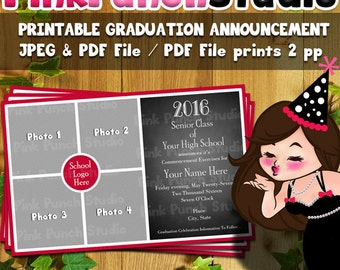Personalized Printable Photo Graduation Announcement 4 Photos CHOOSE YOUR School COLOR