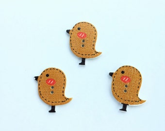 Bird Buttons - Flatback Brown Birds Buttons - Craft Scrapbooking Supplies Embellishment - Flat Back Wood 25 MM - Shankless Craft Button
