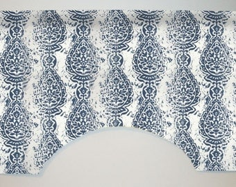 Premier Prints Manchester Custom Valance Curtain, Navy Blue, Abstract Distressed Damask, Lined