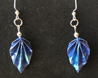 Swirling Blue Patterned Origami Leaf Earrings- Nickel Free