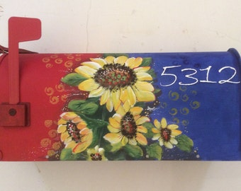 Hand  painted mailboxes Orange red blue yellow sunflowers, Daisey  boho,  decorative custom daisy whimsical personalized curbside  rural