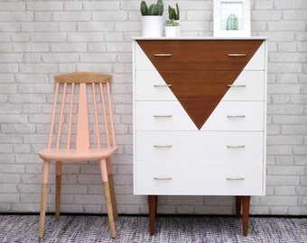 Mid Century Modern Upcycled Teak Chest of Drawers Painted in White with Triangle Design