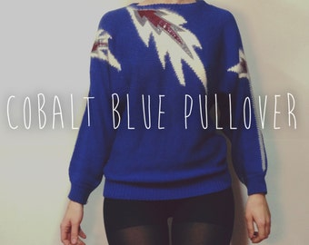 vintage cobalt blue knit sweater / Dolman sleeve sweater / chevron knit
