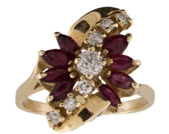 Diamond and Ruby 14k Yellow Gold Ring