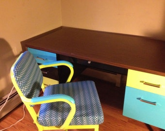 Metal Desk with matching Chair - Repurposed