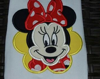 Minnie Mouse Shirt, Minnie Applique Shirt, Minnie Flower Shirt