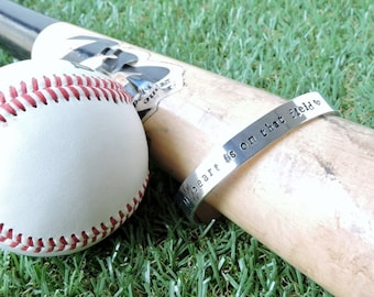 My heart is on that field - baseball cuff bangle, hand stamped, sports jewellery