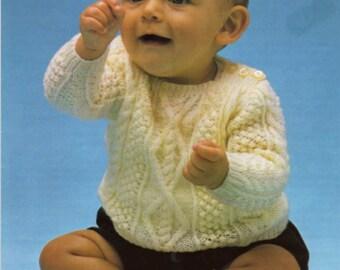 PDF Knitting Pattern Baby aran sweater Instant Download Nr.94