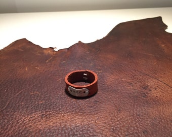 Handmade Leather ring with silver plate
