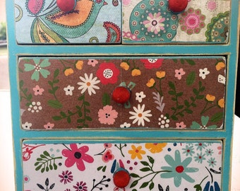 Vintage Chic Mini Dresser Drawers, Teal and Pattern Decoupage, Boho Chic, Shabby Chic, Jewelry Storage