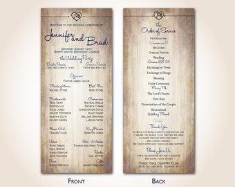 Wedding Program - Rustic - Woodgrain - Country Wedding - Finished Printed Programs