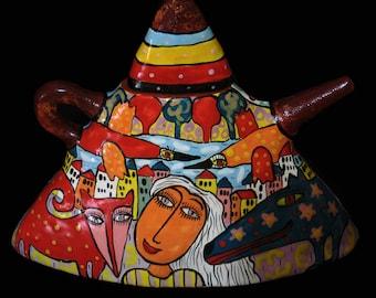Teapot triangular, Сeramic teapot with ornament, teapot with decor, ceramic ware, coffee pot, cafetiere, ceramic teapot, teapot
