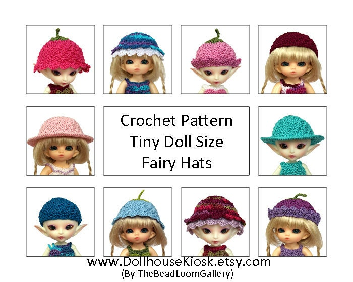 Crochet Mini Doll Pattern : Crochet Pattern Miniature Doll Size Fairy Hats PukiPuki
