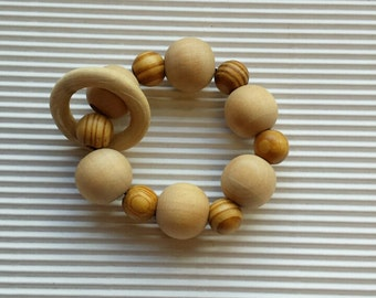 Natural Teething bracelet Baby Calming toy  Eco Friendly wood teether Teething toy Chunky wooden bracelet Baby Shower gift