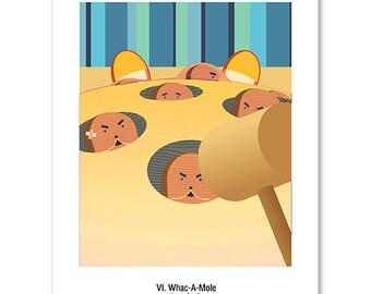 Pregnancy Postcard - VI. Whac-A-Mole ( A Cartoonish Way of Pregnancy Announcement ) - Set of Four