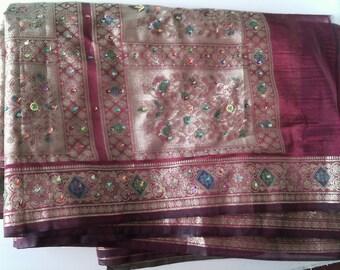 Embroidered silk sari