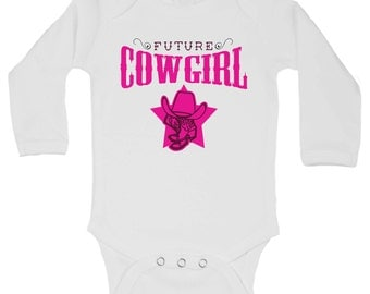 """Cute Baby Western Onesie - """" Future Cowgirl """" - Funny Kids Clothing - Gifts for Baby - Western Kids Boutique - Short Sleeve Option - 244"""
