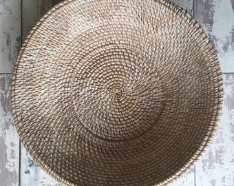 Whitewash rattan handmade bowl