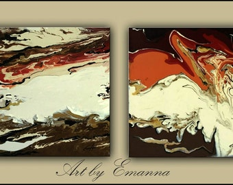 "SALE Original Paintings, Abstract painting, Fluid Painting, Set of 2 Acrylic painting, contemporary, 20""x40"" Ready to Hang"