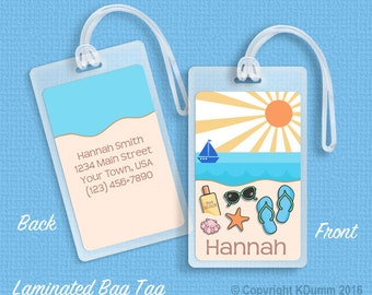 Personalized Luggage Bag Tag Laminated Bag Tags Beach Vacation Travel Tags