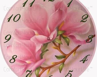 Printable Clock Face Magnolia Flower Digital Image Instant Download