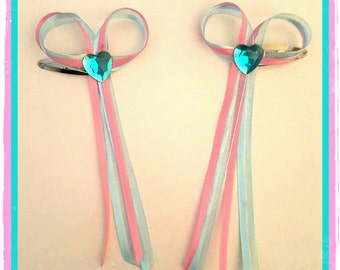 X2 heart ribbon clips