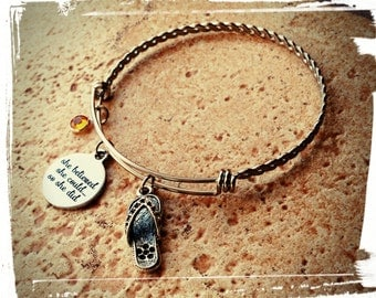 Inspirational Stainless Steel Braided Charm Bangle - Stainless Charm// Swarovski Crystal Birthstone//Choose Your Accent Charm//Gift for Her