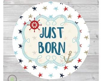 Newborn Monthly Baby Sticker for Baby Boy - Just Born - Nautical-Navy-Sea Design by Baby Lookback