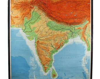 GIant Vintage Wall Map of India
