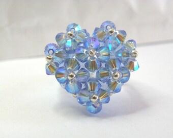 Very bright blue Sapphire heart iridescent blue ab2x Swarovski Crystal ring
