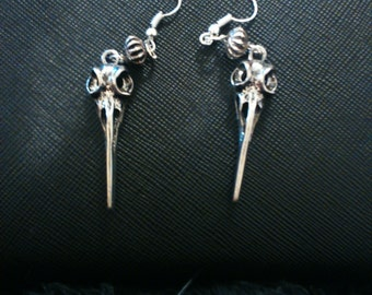 Birdskull silver earrings - gothic/vintage style