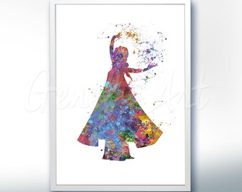 Disney Elsa Frozen Watercolor Poster Print - Wall Decor - Watercolor Painting - Watercolor Art - Kids Decor- Nursery Decor