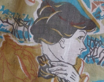 70s voile Victorian motifs Gathered waist Long sleeve Button front