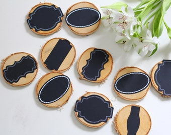Natural, rustic wooden NameTags with a chalkboard sticker, set of 10, wedding props
