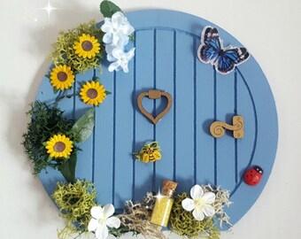 Fairy Door, Hobbit Door, Blue Fairy Door, Faerie Door With Flowers, Tooth Fairy Door