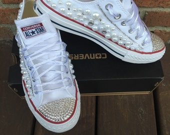 Bling and Pearls converse
