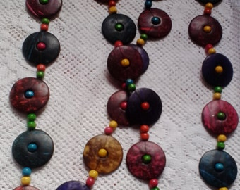Classic Necklace, made from permanently colored wooden beads